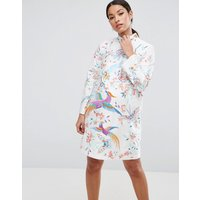 ASOS MaternityASOS Maternity Embroidered Bird Taffeta Mini Dress - Multi