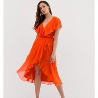 ASOS DESIGN Tall cape back dipped hem midi dress - Blood orange