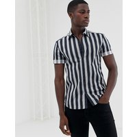 New Look muscle fit shirt in navy stripe - Navy