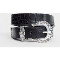 Accessorize Black Western Belt With Silver Hardware