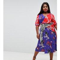 ASOS DESIGN Curve - Trophy - Kleid mit Mustermix - Mehrfarbig