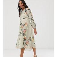 Hope & Ivy Maternity floral long sleeve skater midi dress - Grey floral