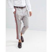 Pantalones de vestir tapered a cuadros con rayas laterales con cuadros escoceses de ASOS DESIGN