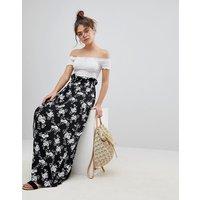 Falda maxi con cintura paperbag y diseño floral monocromático de ASOS