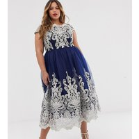 Chi Chi London Plus Premium Metallic Lace Midi Prom Dress with Bardot Neck