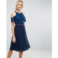ASOSASOS Lace Cold Shoulder Crop Top Skater Midi Dress - Navy