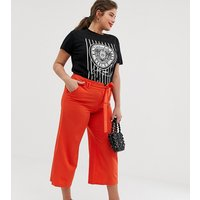 Lost Ink Plus Cropped Wide Leg Trousers With Tie Waist - Red