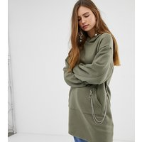 Bershka longline hoodie with chain detail in green - Green