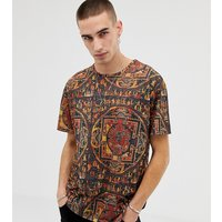 Heart & Dagger relaxed fit all over printed t-shirt - Burgundy