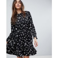 Yumi Long Sleeve Tea Dress - Black