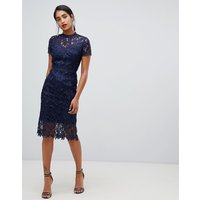 Chi Chi London high neck lace pencil dress in navy