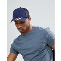 Brave Soul Baseball Cap Retro Stripe Navy - Blue