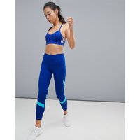 Adidas Running How We Do Leggings In Blue Colourblock - Mystery Ink