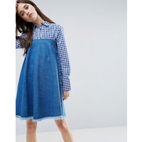 ASOSASOS Denim Strapless Dress With Raw Hem in Mid Wash Blue - Blue