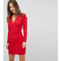 Parisian Petite Wrap Front Dress With Volume Sleeve - Red