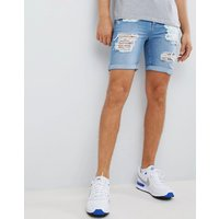 LDN DNM Ripped Denim Shorts - Blue