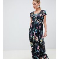 Little Mistress Petite cap sleeve maxi dress in dark floral print - Multi