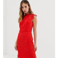 Chi Chi London Petite scallop lace pencil dress in red
