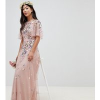 ASOS DESIGN Petite floral embroidered dobby mesh flutter sleeve maxi dress - Nude