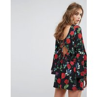 Kiss The SkyKiss The Sky Swing Dress With Flared Sleeves And Tie Back In Floral Print - Black