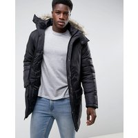 French Connection Parka With Faux Fur Hood - Black