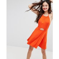 ASOSASOS Mini Swing Halter Neck Sundress with Cut Out - Burnt orange