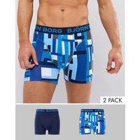 Bjorn Bjorg 2 Pack Trunks Block Print - Blue