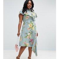 ASOS CurveASOS CURVE Asymmetric Tea Dress in Floral Print - Multi