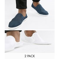 Truffle Collection 2 Pack Slip On Plimsolls - Navy