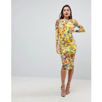 ASOS DESIGN printed mesh pencil dress with ruched skirt - Yellow floral