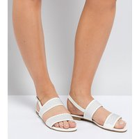 Truffle Collection Wide Fit Studded Flat Sandal - White pu