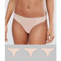 Asos Design 3 Pack Basic Seam Free Thongs - Beige