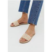 Accessorize Natural Woven Raffia Flat Slip On Sandals
