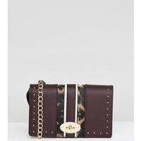 Accessorize Saffron Studded Cross Body Bag - Burgundyleopard