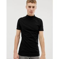 ASOS DESIGN muscle fit turtle neck t-shirt with stretch in black - Black