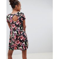 Brave Soul Swing Dress With Keyhole Back In Dark Floral Print - Black Floral
