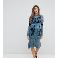 Hope & Ivy Maternity Long Sleeve Lace Dress With Velvet Applique Detail - Teal