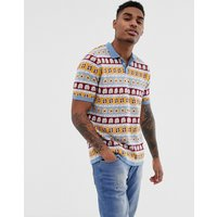 ASOS DESIGN knitted polo t-shirt with floral design - Blue