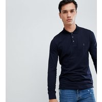French Connection TALL Long Sleeve Jersey Logo Polo Shirt - Marine