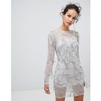 Frock & Frill long sleeve embellished shift dress - Grey