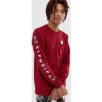 RIPNDIP Lord Nermal long sleeve t-shirt in burgundy - Burgundy