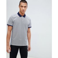 Ted Baker jersey polo shirt in navy stripe with contrast collar - Navy