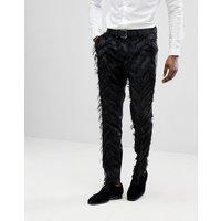 Pantalones de vestir ajustados en negro con flecos de ASOS EDITION