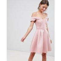 ASOS Bardot Cold Shoulder Mini Prom Dress - Blush
