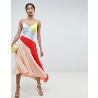 ASOS DESIGN Colourblock dress with pleat hem - Colourblock