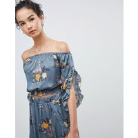 Gilli Off Shoulder Floral Top - Teal