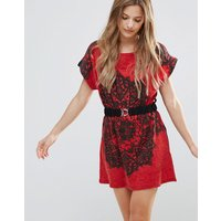 JasmineJasmine Printed Tunic Dress With Waist Belt - Red