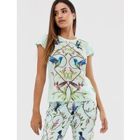 B By Ted Baker Highgrove Bird Print Jersey Pleat Back Tee In Mint