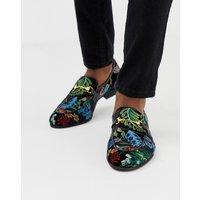 Zign bar loafers in embroided velvet - Black