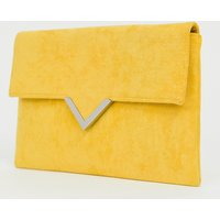 Accessorize Bright Yellow Foldover V Bar Clutch Bag